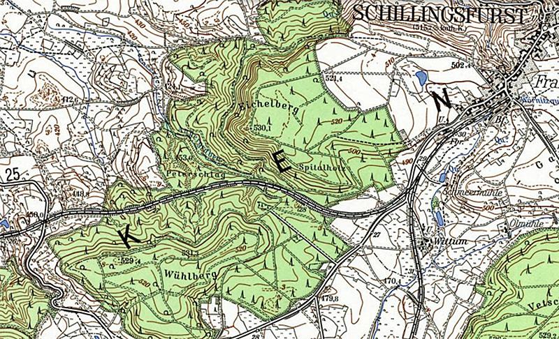 Karte Schillingsfürst etwa 1971