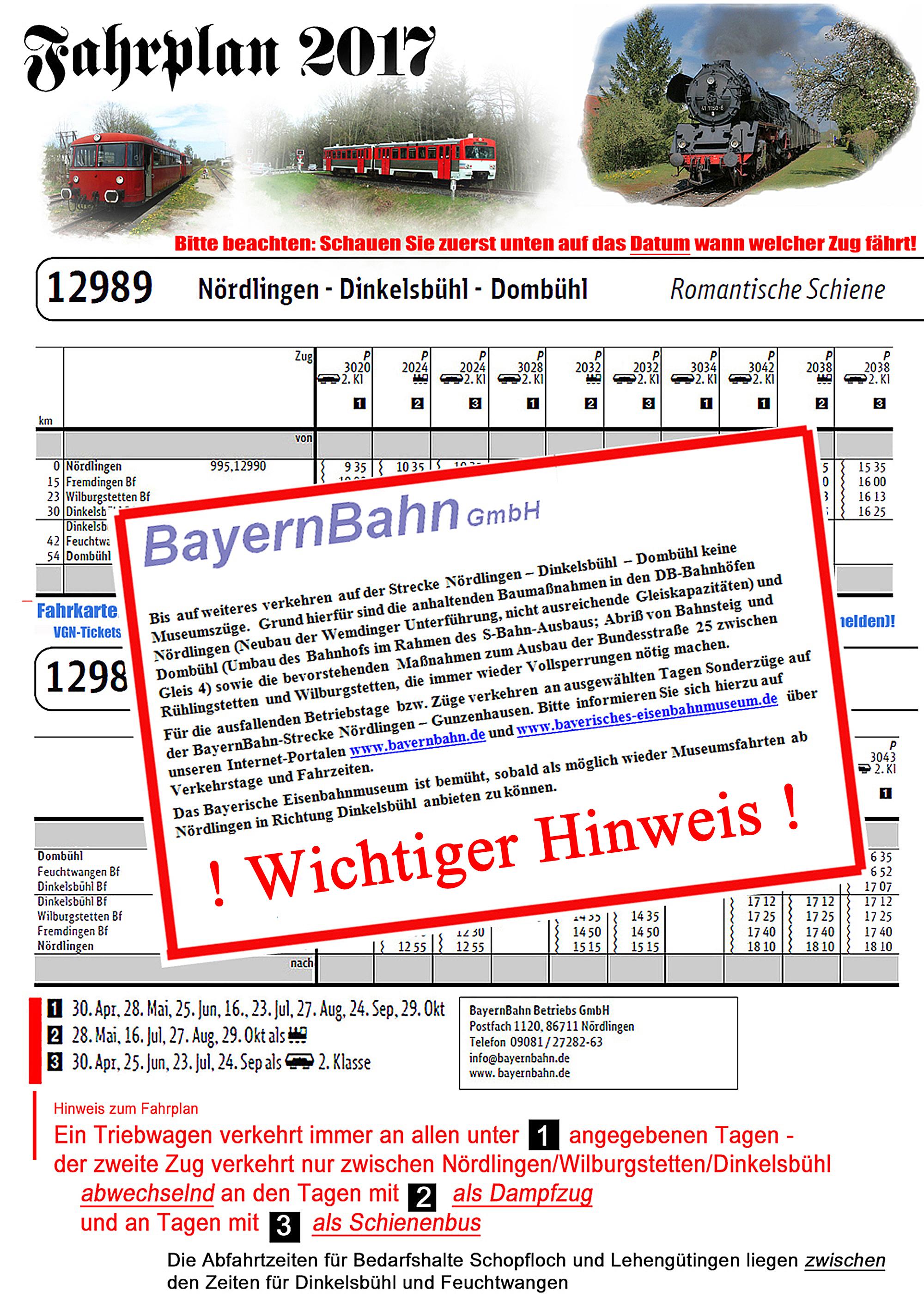 Fahrplan Nördlingen-Dinkelsbühl-Feuchtwangen 2017