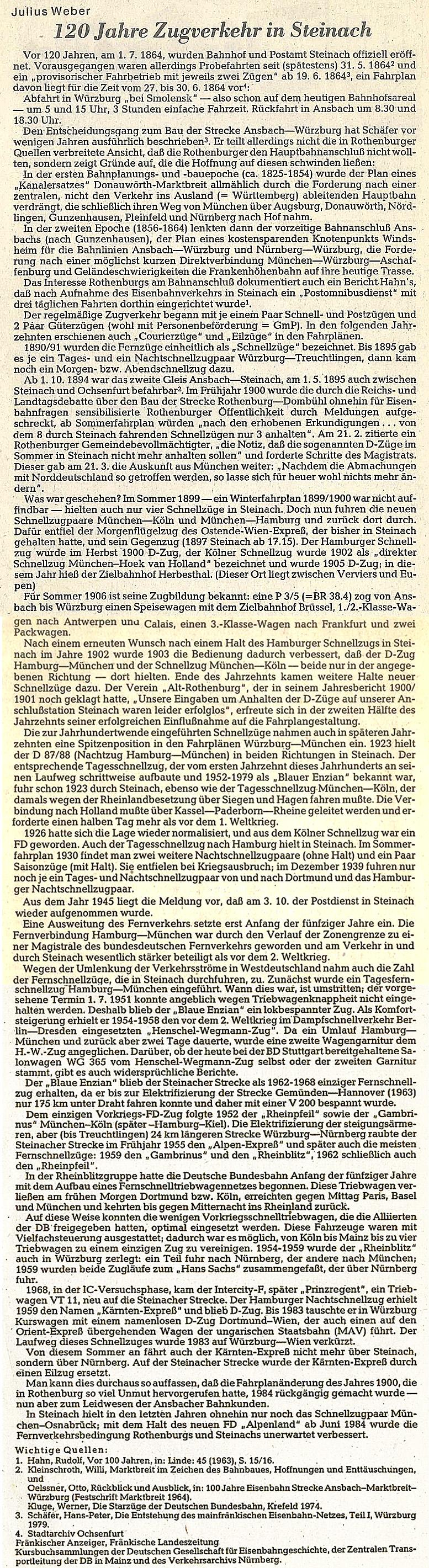 Bericht von J. Weber 1984