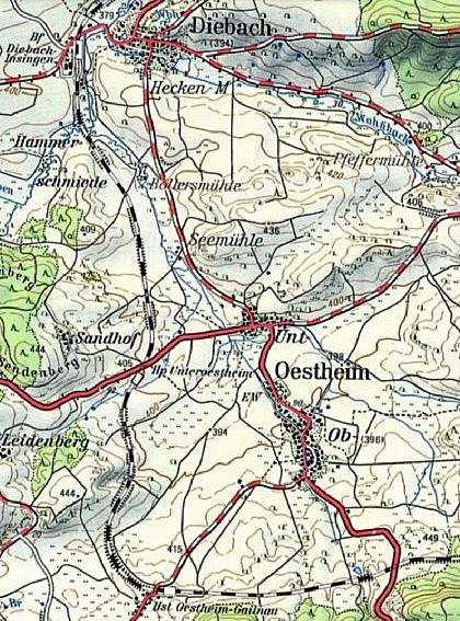 Karte Unteroestheim um 1970