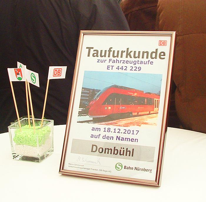 """Taufurkunde ET 442 229 """"Dombühl"""""""
