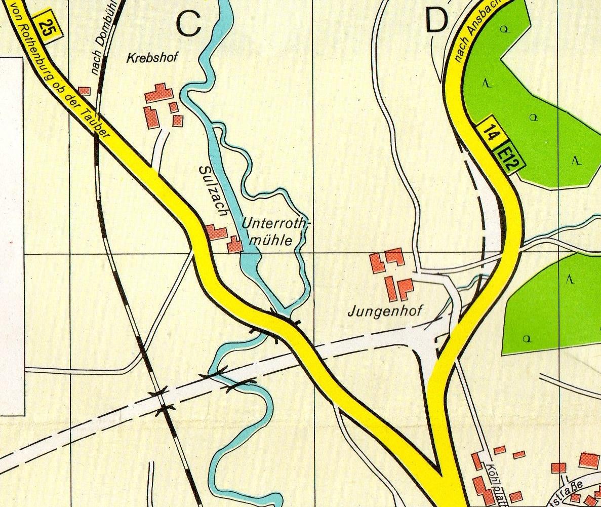 Alter Stadtplan Feuchtwangen mit BÜ Krebshof