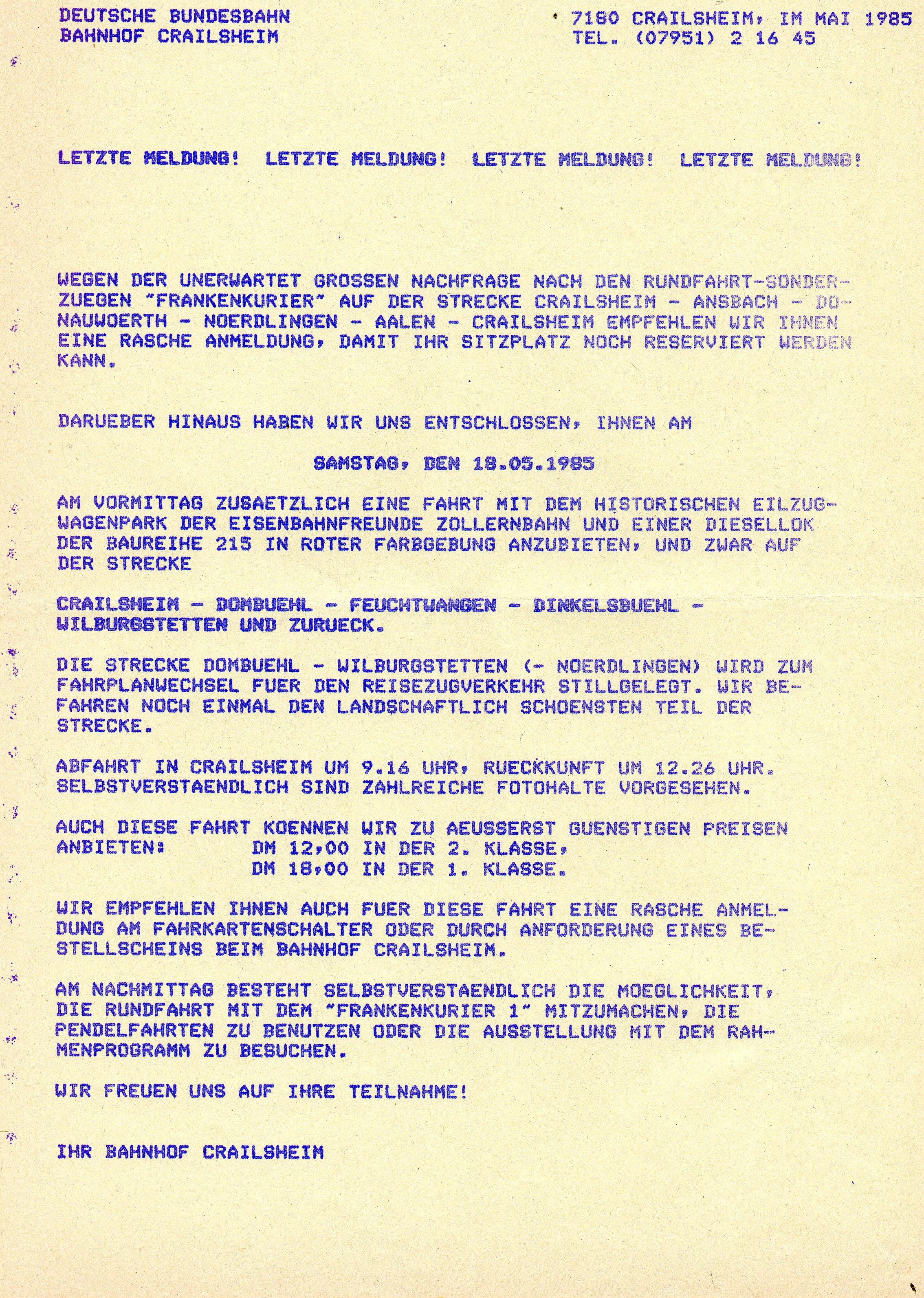 Ausschreibung Sonderfahrt 18.5.1985
