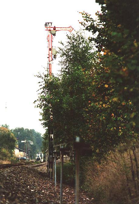 Einfahrtsignal in Dinkelsbühl aus Richtung Wilburgstetten 4.10.1995