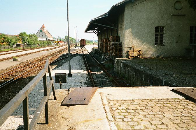 Rampe an der Güterhalle in Dinkelsbühl Sommer 1985