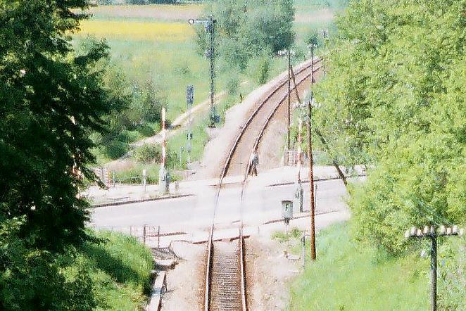 Einfahrt Dinkelsbühl Nord BÜ Bundesstraße 25 Sommer 1985