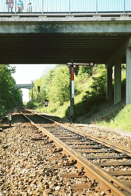 Ausfahrsignal in Dinkelsbühl unter der Stauferwallbrücke 1985