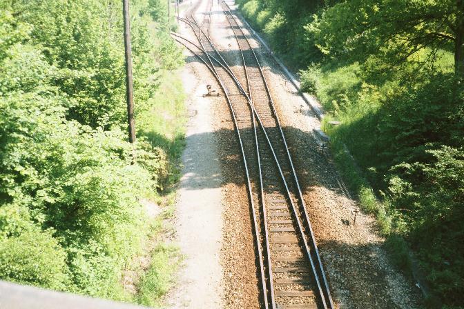 Nördlicher Weichenbereich in Dinkelsbühl 1985