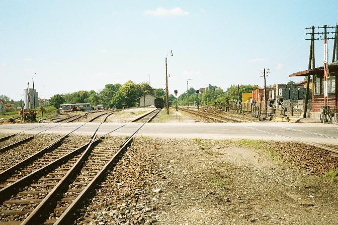Südliche Gleisanlagen in Dinkelsbühl 1985