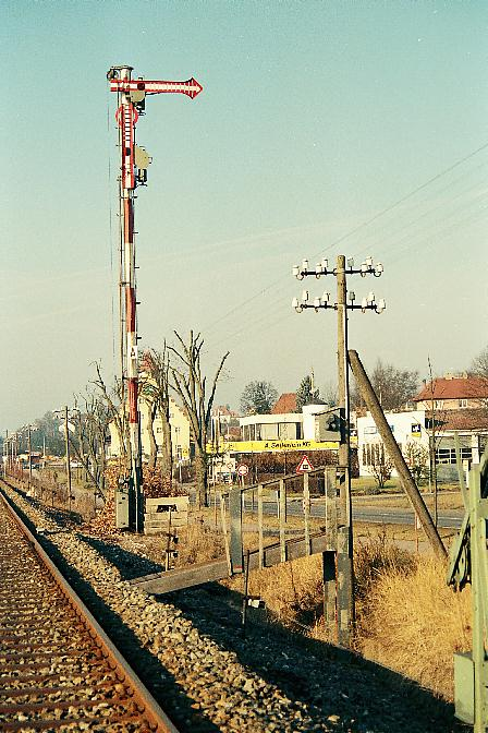 Einfahrhauptsignal Dinkelsbühl Süd am 2.1.1990