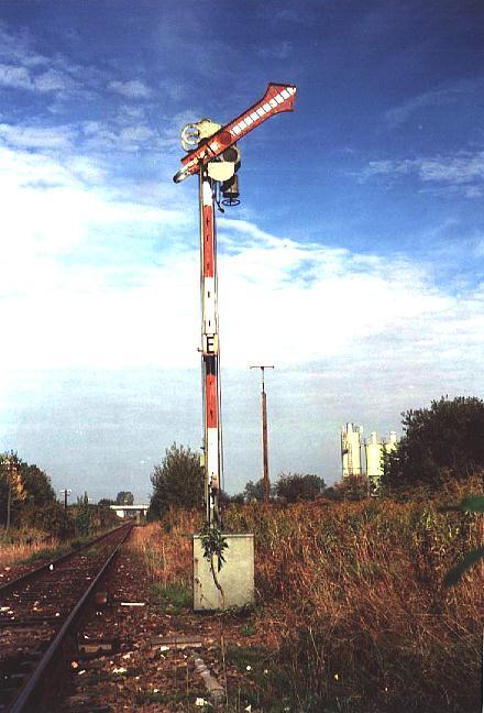 Ausfahrtsignal in Feuchtwangen Richtung Dombühl 4.10.1995