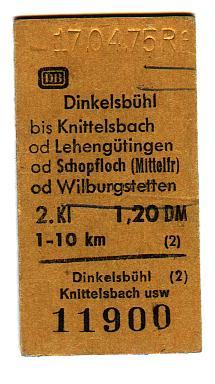 Fahrkarte nach Knittelsbach