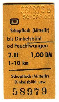 Fahrkarte aus Schopfloch