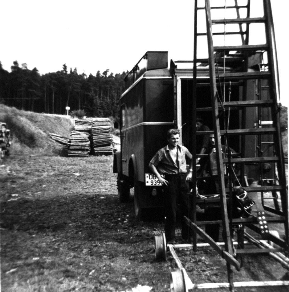 Schienenfahrbare Leiter der FLK Ansbach
