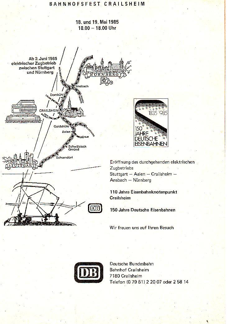 Streckenplan Crailsheim Mai 1985