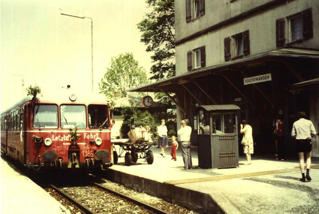 Die letzten Reisenden am 1. Juni 1985 in Feuchtwangen
