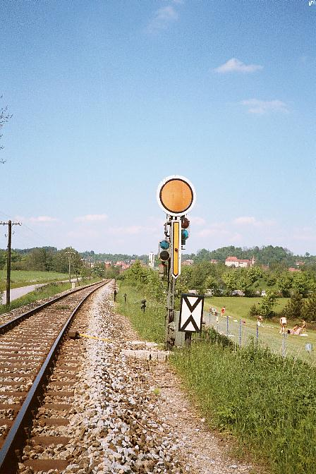 Einfahrtvorsignal Feuchtwangen Süd Sommer 1985