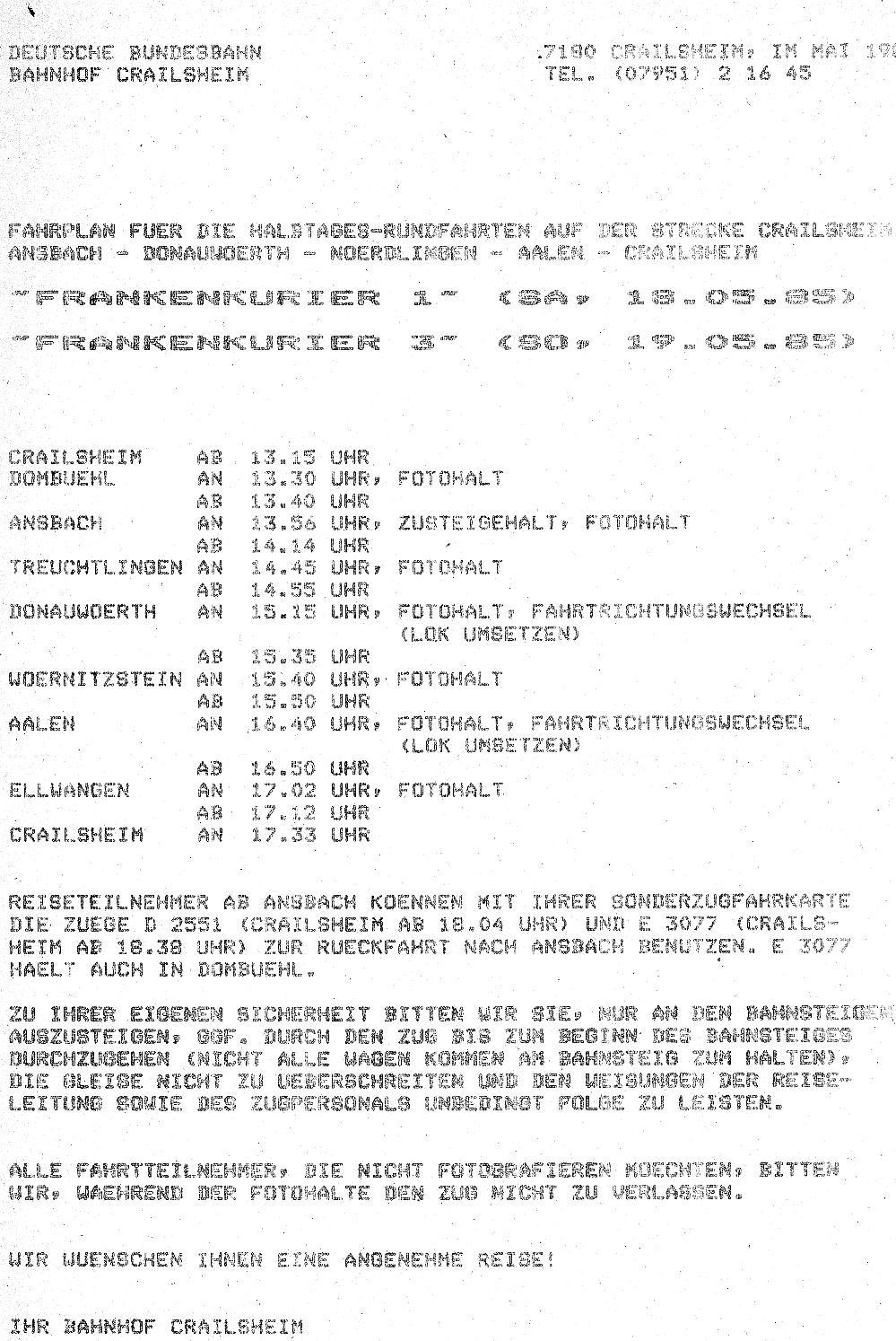 "Fahrplan ""Frankenkurier"" Mai 1985"