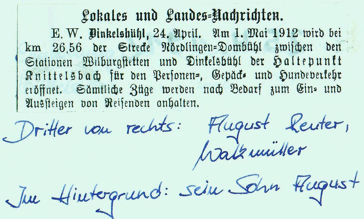 Zeitungstext Einweihung Knittelsbach 1912