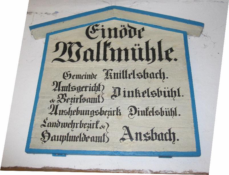 Tafel Einöde Walkmühle 1860