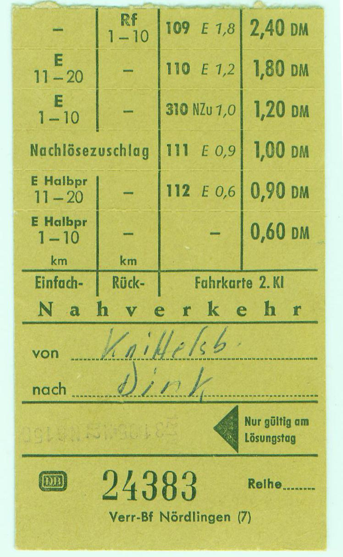 Letzte Fahrkarte nach Knittelsbach 1975