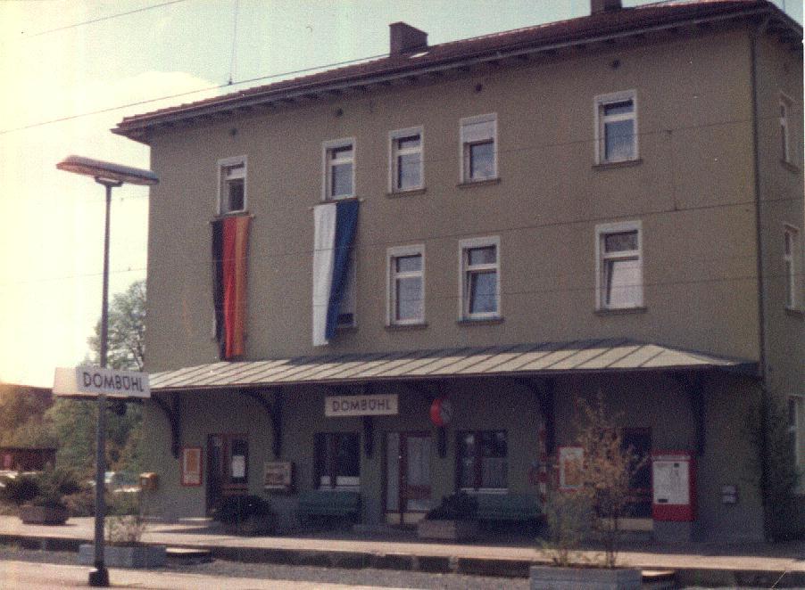 Bahnhof Dombühl 18.5.1985 Eröffnung Elektr. Betrieb Nbg-Stuttgart
