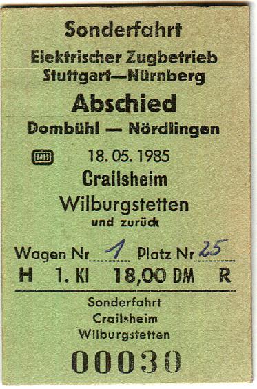 Fahrkarte Sonderzug 18.5.1985
