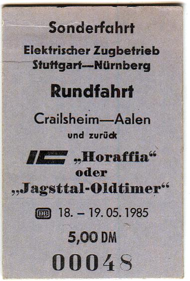 Fahrkarte Sonderzug Mai 1985