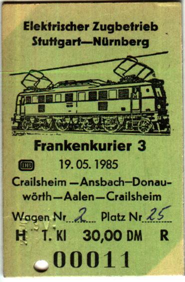 Fahrkarte 19.5.1985