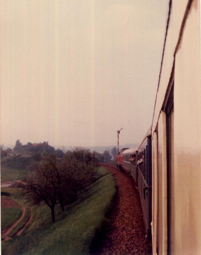 Einfahrt in Schopfloch Sonderzug 18.5.1985
