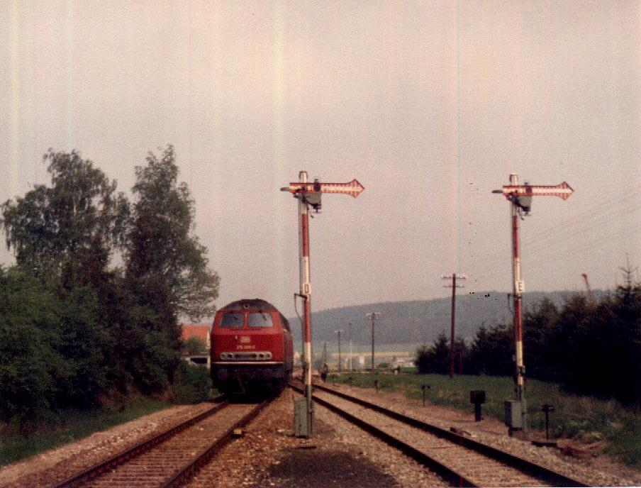 Einfahrt Sonderzug 18.5.1985 in Wilburgstetten