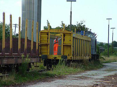 "rent-a-rail-Lok ""Mechthild"" am 28.7.04 in Feuchtwangen"