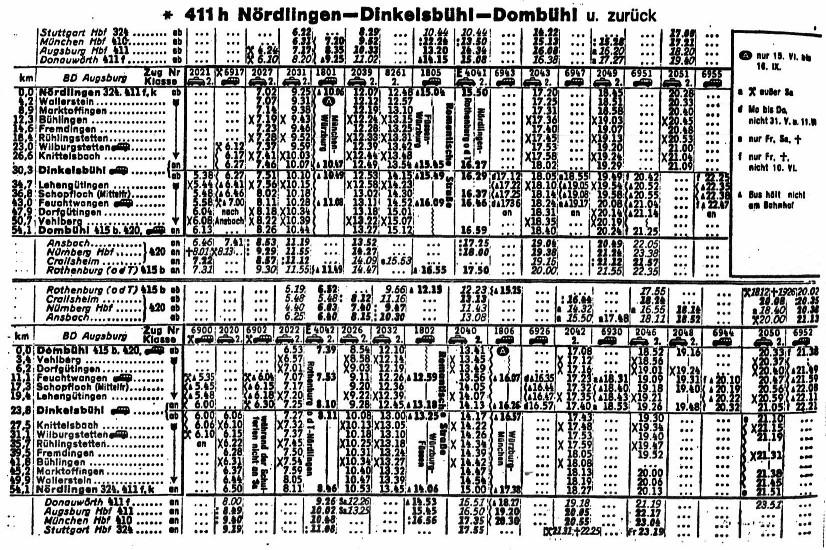 Fahrplan 1962