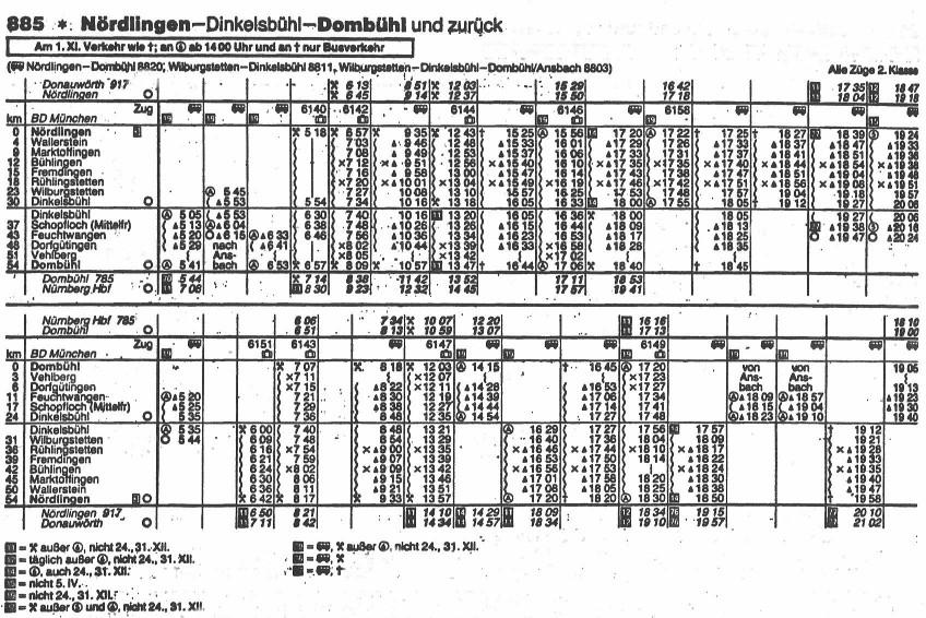 Letzter Fahrplan Winter 1984/85