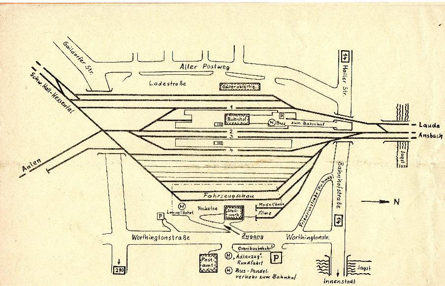 Plan Bahnhofsfest Crailsheim Mai 1985