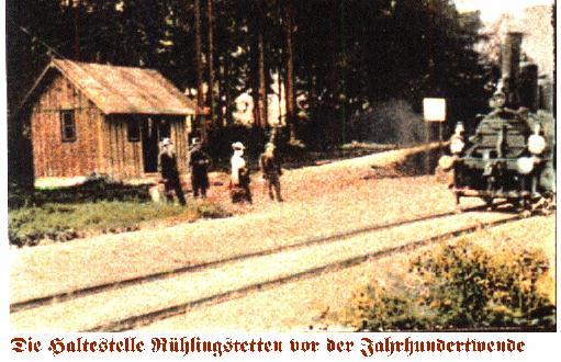 Ausschnitt aus Postkarte - Haltepunkt Rühlingstetten
