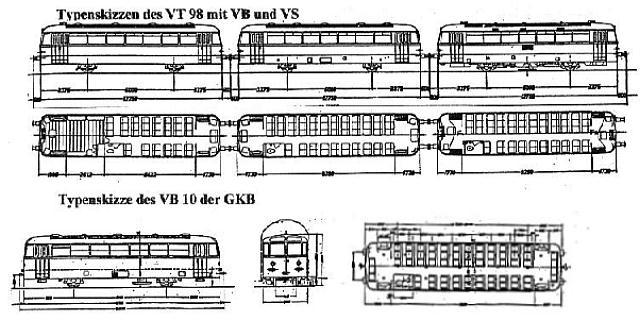 Typenskizzen VT 98 mit VB und VS